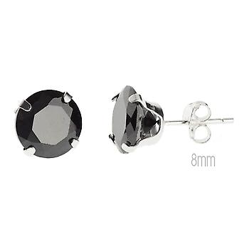 925 sterling silver black bling earrings - round
