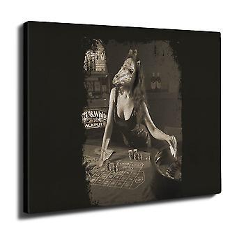 Girl Beast Gamble Wall Art Canvas 40cm x 30cm | Wellcoda