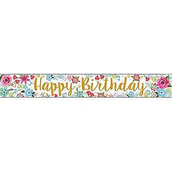Simon Elvin Foil Banner Happy Birthday Flowers