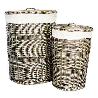 La colada antigua ronda juego de cesta de lavadero de 2