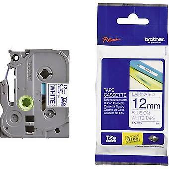Merking tape bror TZe, TZ TZe-233 Tape farge: hvit skrift farge: blå 12 mm 8 m