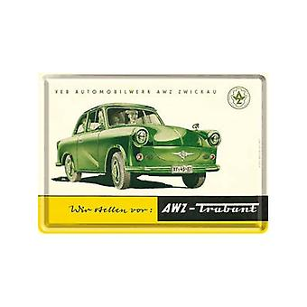 Trabant (Green) Miniature Metal Sign / Metal Postcard