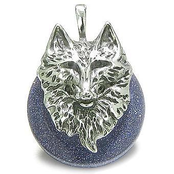 Amulet ulven hodet mot og beskyttelse krefter heldig Donut blå gull stein rustfritt stål anheng