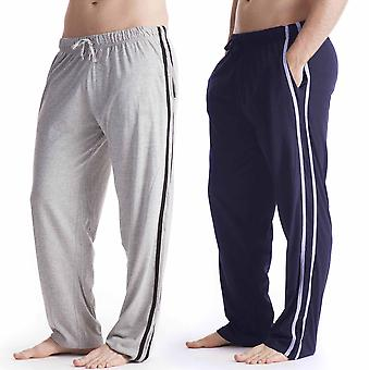 Mens Long Lounge Wear pantaloni pigiama Bottoms (confezione da 2)
