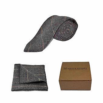 Luxe Herringbone Tweed gris anthracite masculine cravate & mouchoir de poche Set   Processeur en boîte
