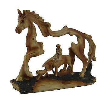 Wrangler Cowboy i hest Faux skåret tre Openwork statuen