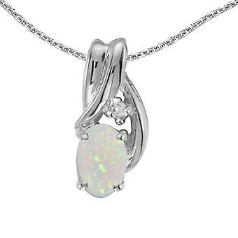 LXR 14k or blanc ovale et pendentif en diamant 0.19 ct