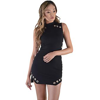 Lovemystyle Mini Dress With Metal Eyelets In Black