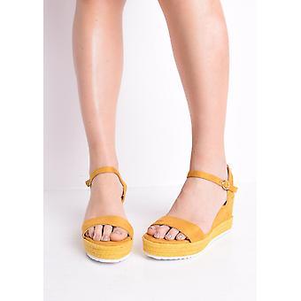 Faux Suede Platform Braided Cork Wedge Espadrille Sandals Mustard Yellow