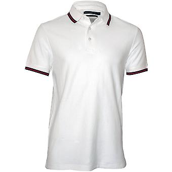 French Connection getextureerde contrasterende poloshirt, wit
