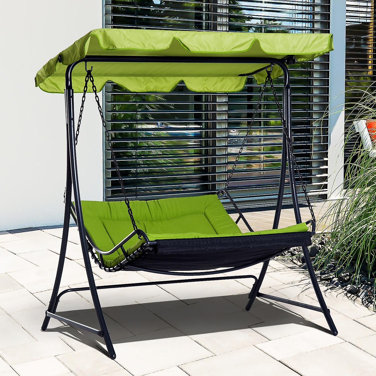 Remarkable Outsunny Swing Chair Hammock Seat Bench Outdoor Garden Adjustable Canopy Cushion Bed Green Squirreltailoven Fun Painted Chair Ideas Images Squirreltailovenorg