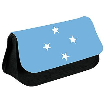 Macronesia Flag Printed Design Pencil Case for Stationary/Cosmetic - 0113 (Black) by i-Tronixs