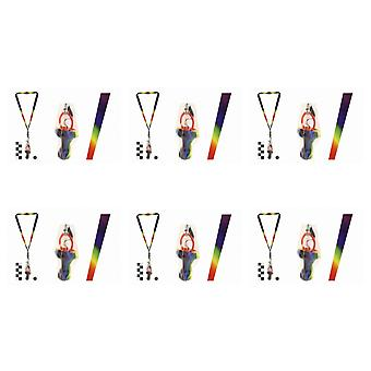 Pack Of 6 Rock Dummies With Rainbow Lanyards