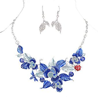 Ladies colourful flower style jewel statement & earring set swarovski crystal necklace