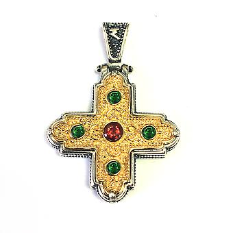 Sterling Silver 18 Karat Gold Overlay Byzantine Style Cross Pendant