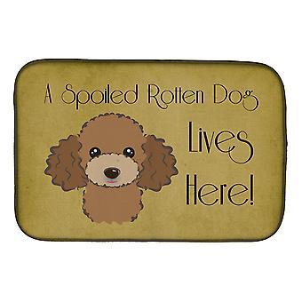 Suklaa ruskea Villa koira pilaantunut koira asuu täällä lautasen kuivaus matto