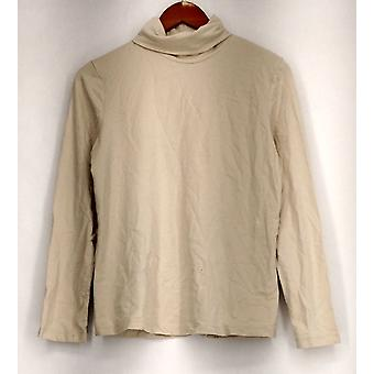 Susan Graver Small Modern Essentials Long Sleeve Turtleneck Beige A282117