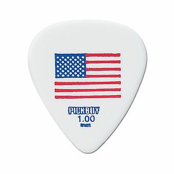6 Pickboy Guitar Picks/Plectrums - Design Flag Small USA White - Heavy 1.00mm
