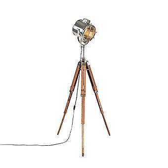QAZQA Lámpara de pie con trípode de madera y lugar de estudio - Trípode Brillante