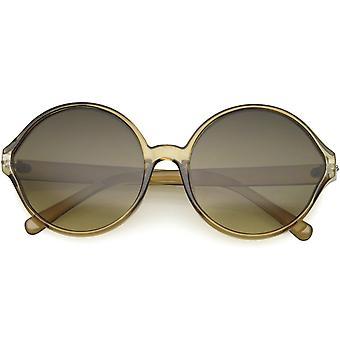 Grandes lunettes de soleil rondes de cercle surdimensionnées translucides de mode de femme 60mm