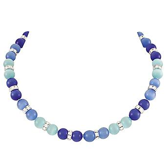 Eternal Collection Vaudeville Blue Multi Cat-apos;s Eye Silver Tone Beaded Necklace