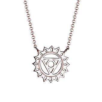 قلادة قلادة المرأة الفضية - لوحة الذهب الوردي - 45 سم 0106831416_45
