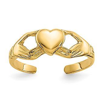 14 k Gelbgold poliert irische Claddagh keltische Dreifaltigkeit Knoten Toe Ring Schmuck Geschenke für Frauen