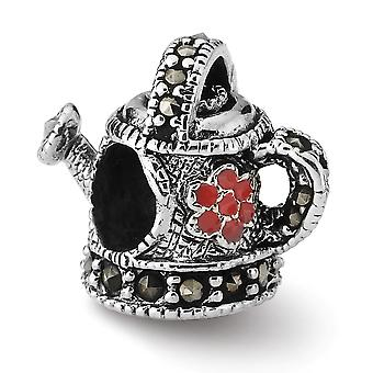 925 Sterling Silver Antique finish Reflections Enameled Marcasite Watering Can Bead Charm Pendant Necklace Jewelry Gifts