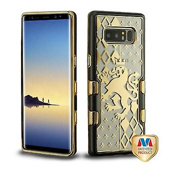 MYBAT Metallic Black/Electroplating Gold Lion Crest (Transparent Clear) TUFF Panoview Hybrid Case for Galaxy Note 8