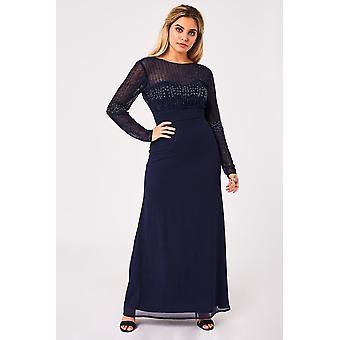 Little Mistress Georgie Navy Hand Embellished Maxi Dress