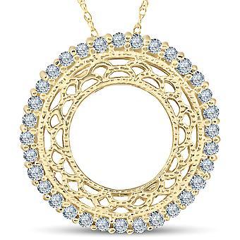 1/2ct Vintage Diamond Circle Pendant 14K Yellow Gold