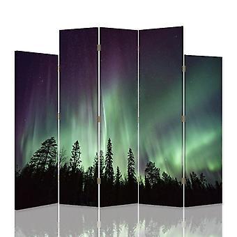 Divisor de habitación decorativa, 5 paneles, lienzo, Luna sobre el bosque 2