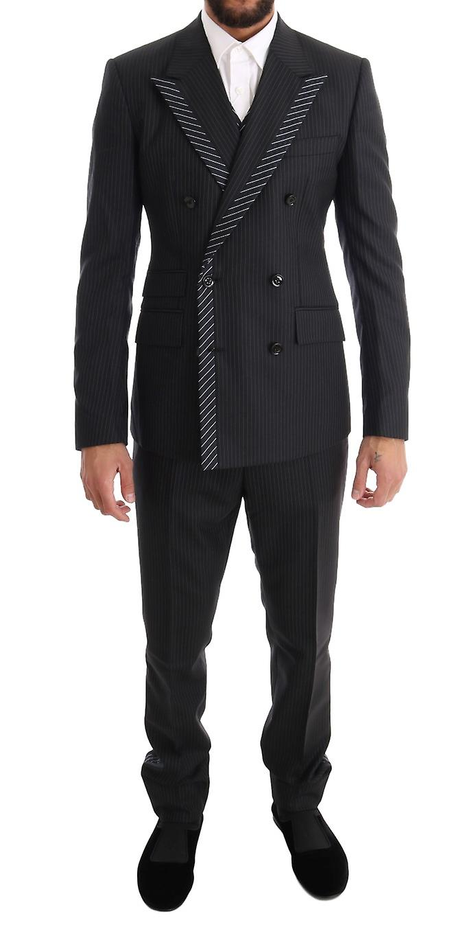 Gray Double Breasted 3 Piece Suit