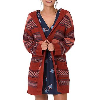 Animal Womens Maya Coco Långärmad stickad varm vinter Hooded Cardigan-röd