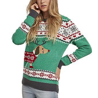 Urban Classics Ladies - Sausage Dog Christmas Sweater grün