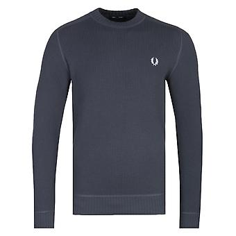 Fred Perry Waffle Textured Charcoal Grey Crew Neck Sweater