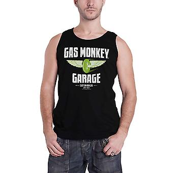 Gas Monkey Garage Vest Top Green Speed Wheels Logo Official Mens New Black