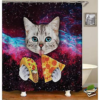 Cat Licks Pizza And Taco Shower Curtain