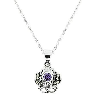 "Scottish Thistle The Flower Of Scotland Necklace Pendant - Marcasite & Amethyst Colour Stone - Includes A 20"" Silver Chain"