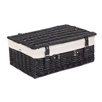 46cm lege zwarte Willow picknickmand met witte voering