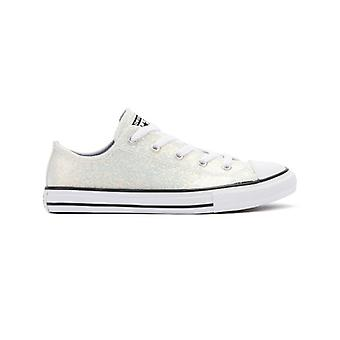 Converse All Star Coated Glitter Youth White Ox Trainers
