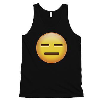 Emoji-emotionless Mens musta typerä innostunut Halloween säiliö alkuun