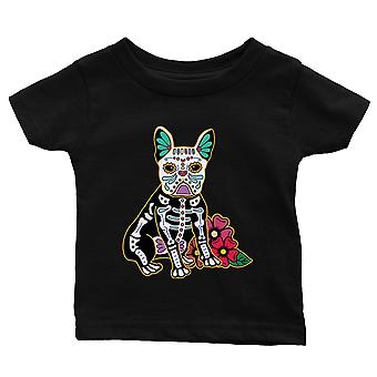 Frenchie Day Of Dead Funny Halloween Costume Cute Baby Gift Tee Black