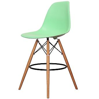 Charles Eames Style Peppermint Green Plastic Bar Stool