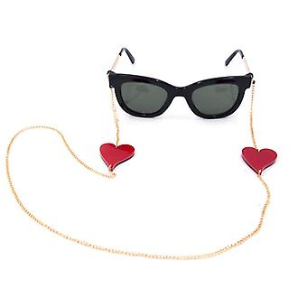 Chain Gold Plated Glasses Red Heart