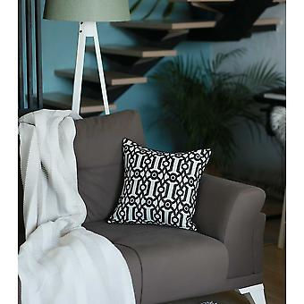Slate Grey Jacquard Geo Decorative Throw Pillow Cover