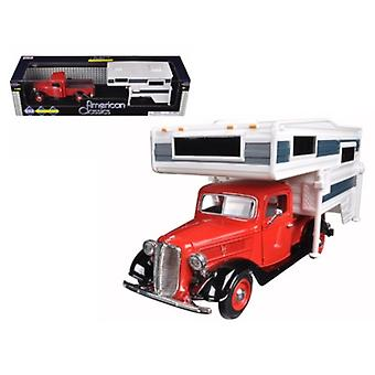 1937 Ford Pickup Truck Red With Camper 1/24 Diecast Model par Motormax