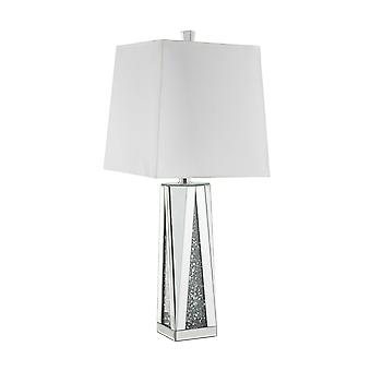 Contemporary Square Table Lamp with Faux Diamond Inlays, White and Clear