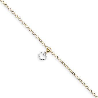 15.85mm 14k Two tone Polished Love Heart Dangle With 1 In Ext Anklet 10 Inch Jewelry Gifts for Women