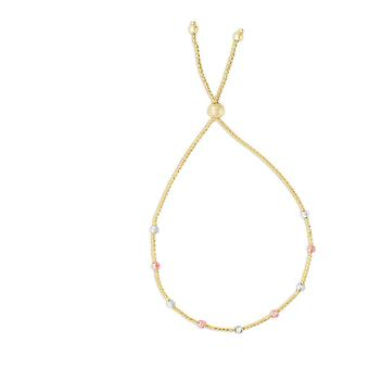 14k Wht Rose Gold 5.4 1.2mm 3 clr Station Bead Yellow Wheat Chain Brclt Adj able Ball Anklet 9.25 In Jewelry Gifts for W